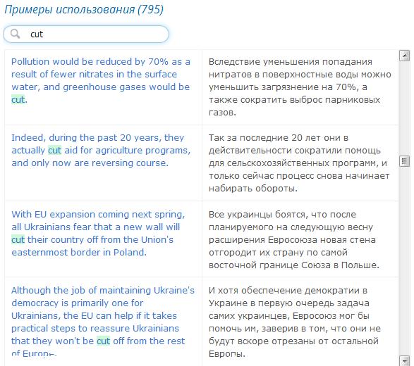 Расширены базы примеров переводов